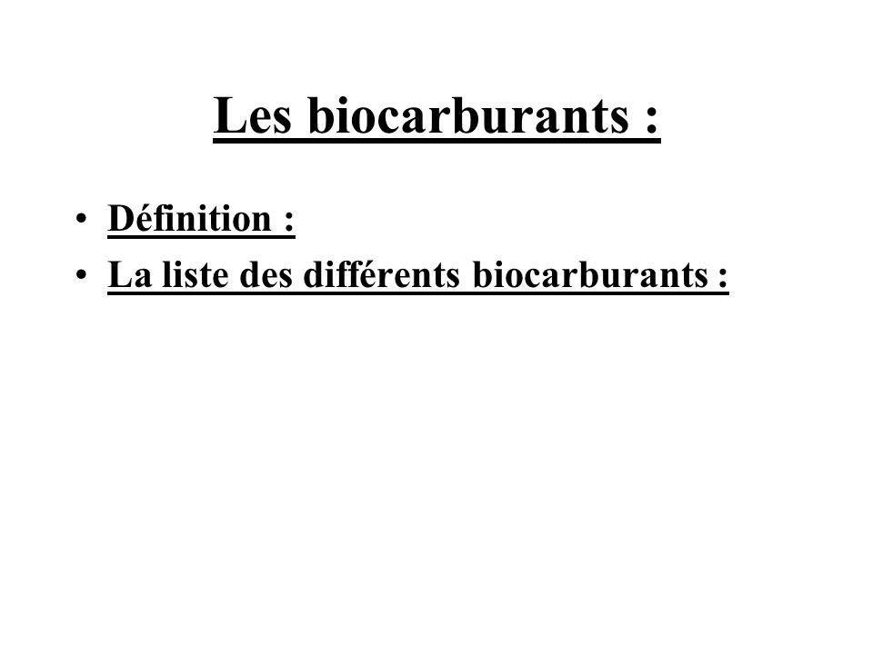 Les biocarburants : Définition : La liste des différents biocarburants :