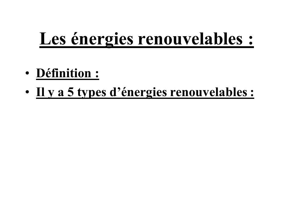 Les énergies renouvelables : Définition : Il y a 5 types dénergies renouvelables :