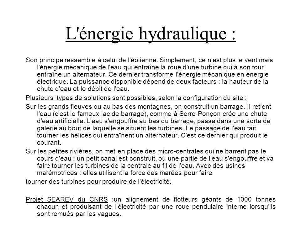 L énergie hydraulique : Son principe ressemble à celui de l éolienne.