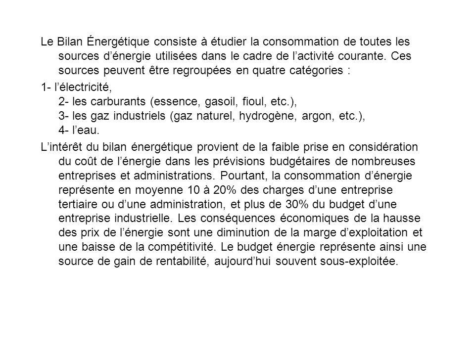 Le Bilan Énergétique consiste à étudier la consommation de toutes les sources dénergie utilisées dans le cadre de lactivité courante.