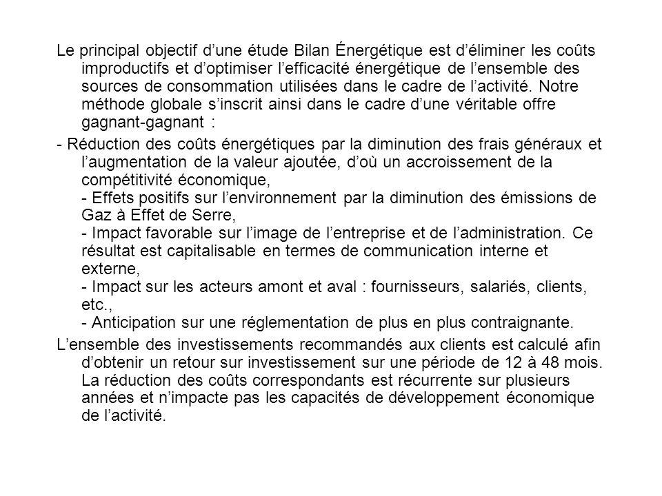 Le principal objectif dune étude Bilan Énergétique est déliminer les coûts improductifs et doptimiser lefficacité énergétique de lensemble des sources de consommation utilisées dans le cadre de lactivité.