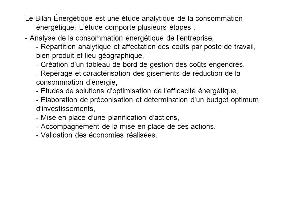 Le Bilan Énergétique est une étude analytique de la consommation énergétique.