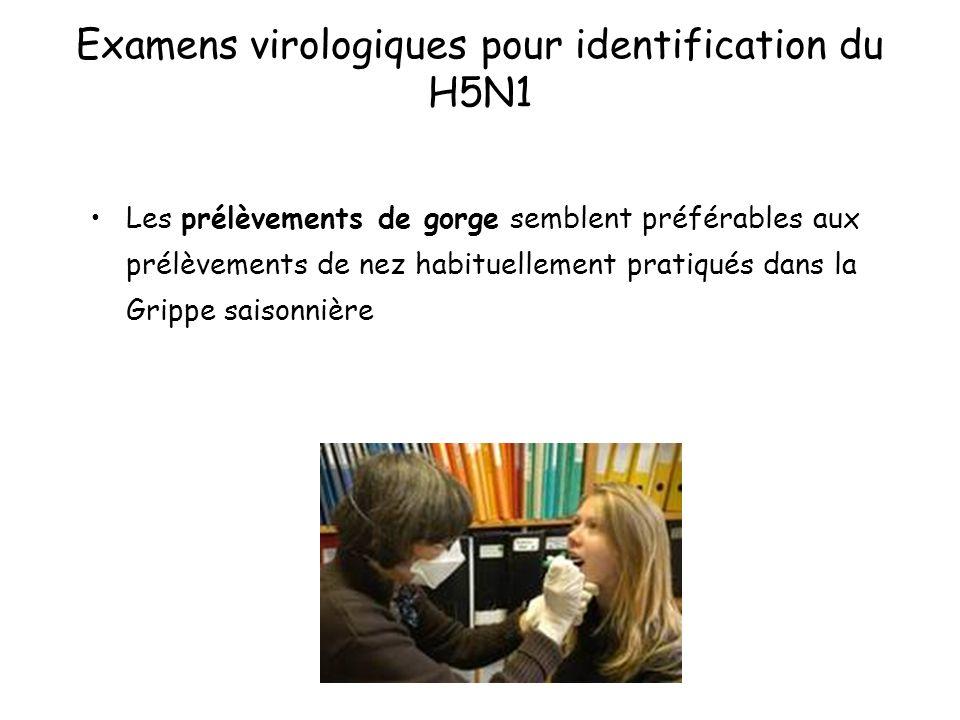 Examens virologiques pour identification du H5N1 Les prélèvements de gorge semblent préférables aux prélèvements de nez habituellement pratiqués dans