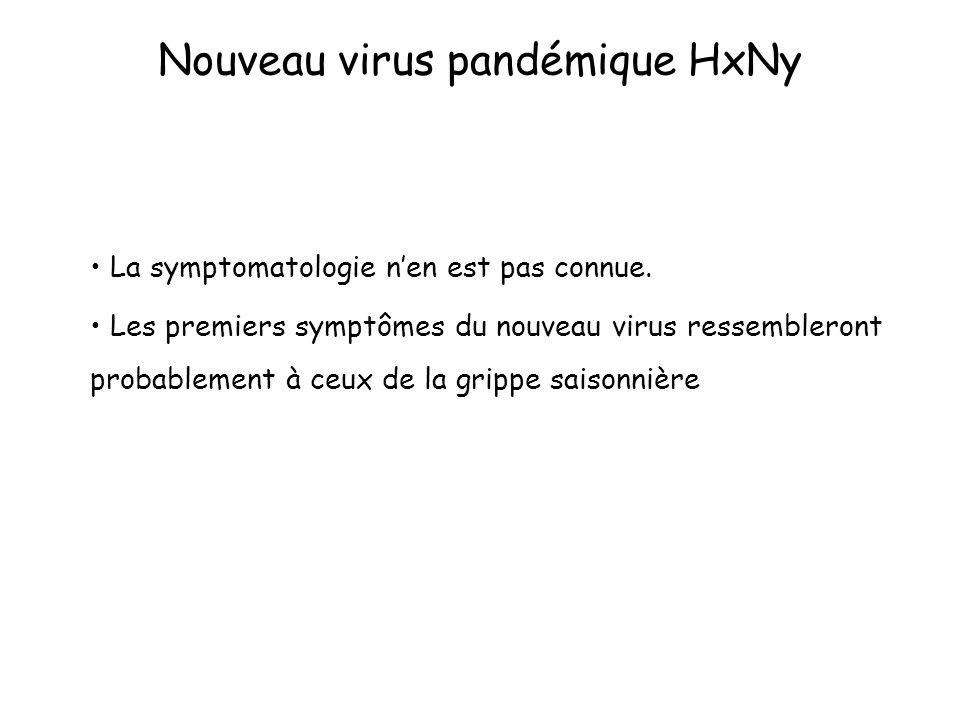 Nouveau virus pandémique HxNy La symptomatologie nen est pas connue. Les premiers symptômes du nouveau virus ressembleront probablement à ceux de la g