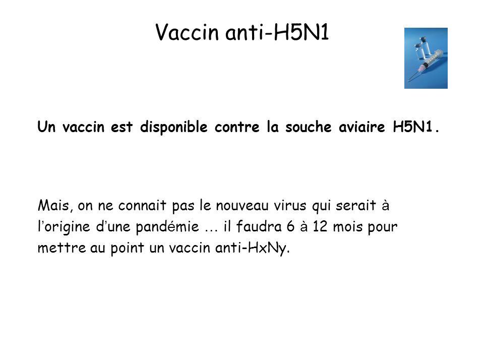 Vaccin anti-H5N1 Un vaccin est disponible contre la souche aviaire H5N1. Mais, on ne connait pas le nouveau virus qui serait à l origine d une pand é