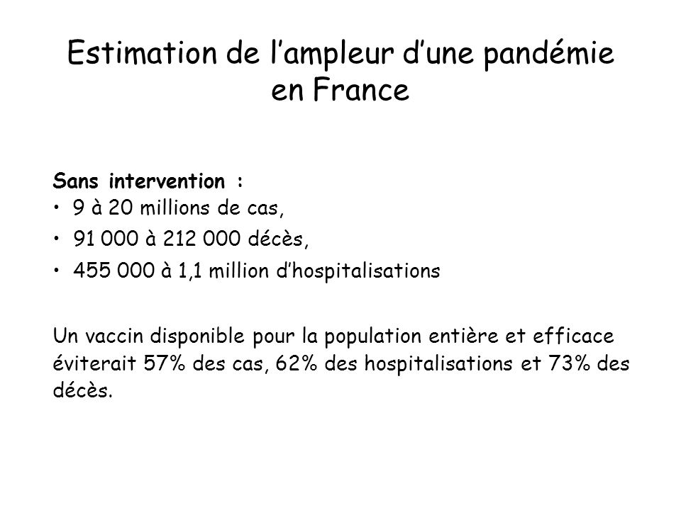 Estimation de lampleur dune pandémie en France Sans intervention : 9 à 20 millions de cas, 91 000 à 212 000 décès, 455 000 à 1,1 million dhospitalisat