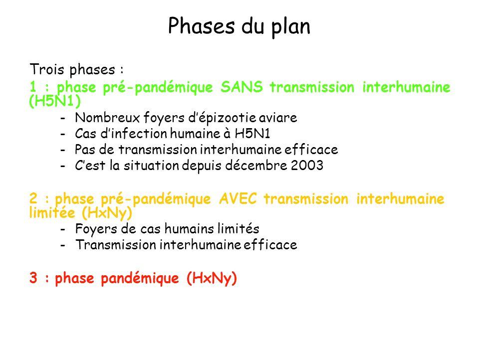 Phases du plan Trois phases : 1 : phase pré-pandémique SANS transmission interhumaine (H5N1) -Nombreux foyers dépizootie aviare -Cas dinfection humain