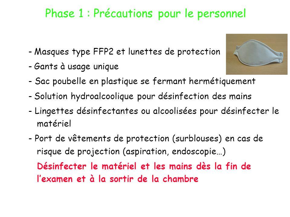 Phase 1 : Précautions pour le personnel -Masques type FFP2 et lunettes de protection -Gants à usage unique - Sac poubelle en plastique se fermant herm
