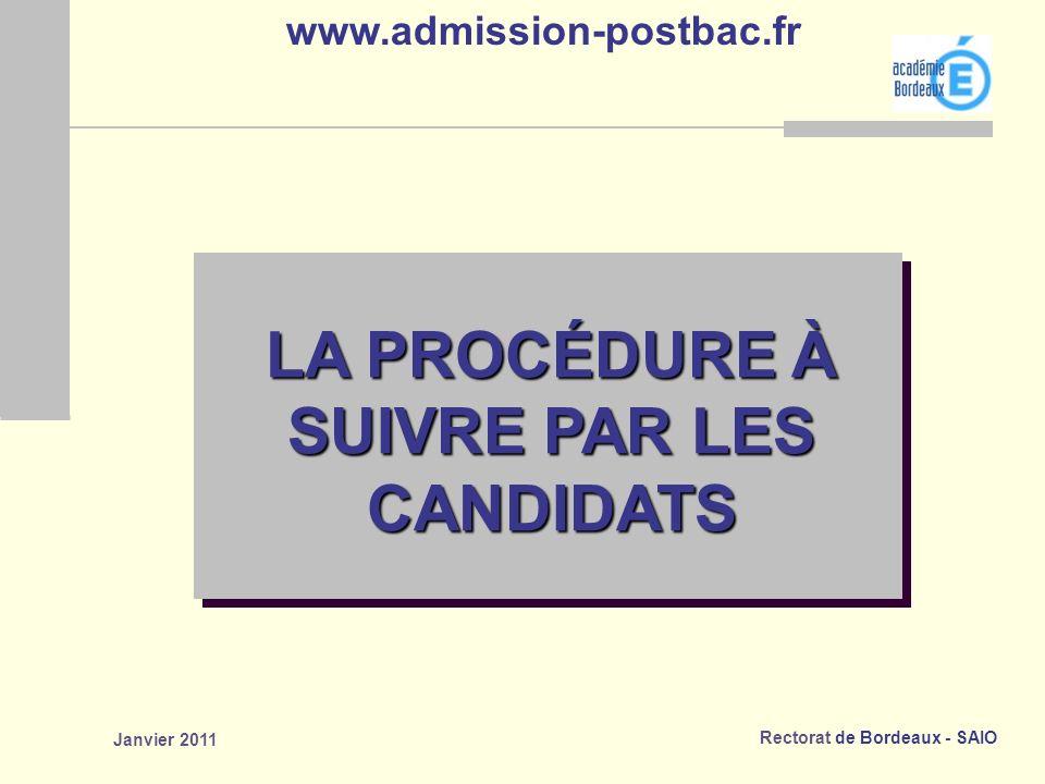 Rectorat de Bordeaux - SAIO Janvier 2011 LA PROCÉDURE À SUIVRE PAR LES CANDIDATS www.admission-postbac.fr