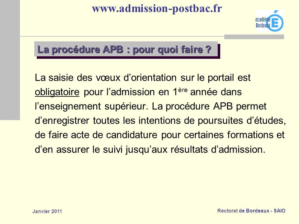 Rectorat de Bordeaux - SAIO Janvier 2011 www.admission-postbac.fr La saisie des vœux dorientation sur le portail est obligatoire pour ladmission en 1 ère année dans lenseignement supérieur.