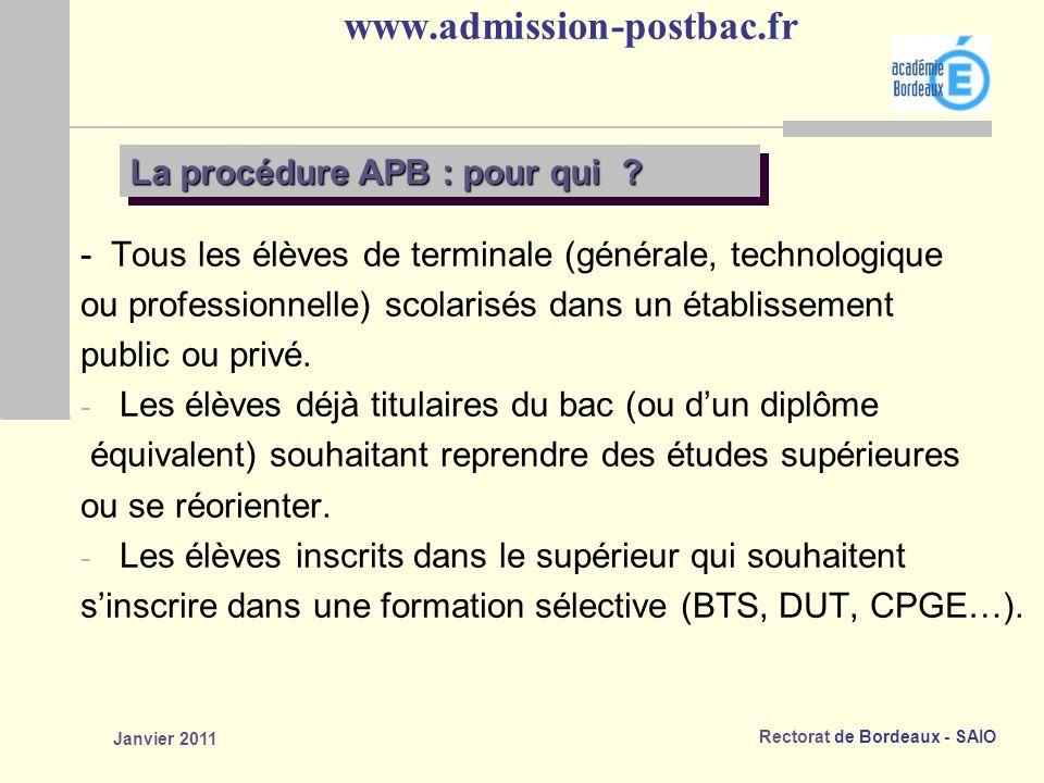 Rectorat de Bordeaux - SAIO Janvier 2011 www.admission-postbac.fr La procédure APB : pour qui .