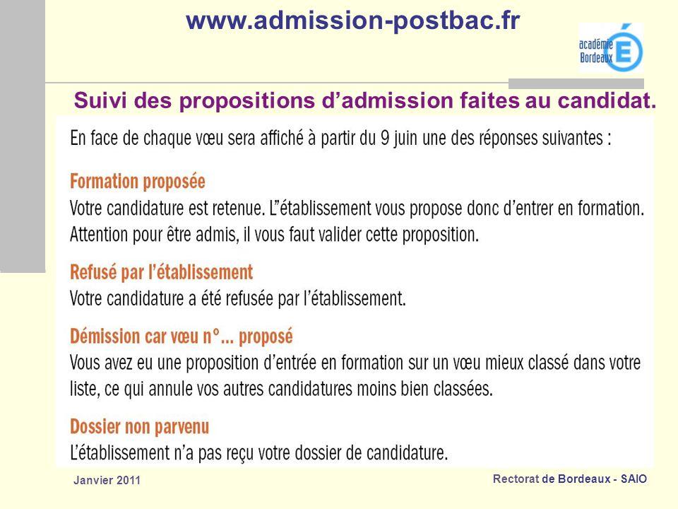 Rectorat de Bordeaux - SAIO Janvier 2011 Suivi des propositions dadmission faites au candidat.