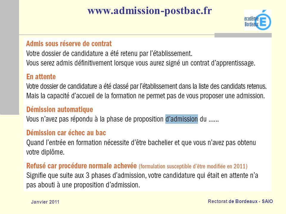 Rectorat de Bordeaux - SAIO Janvier 2011 www.admission-postbac.fr