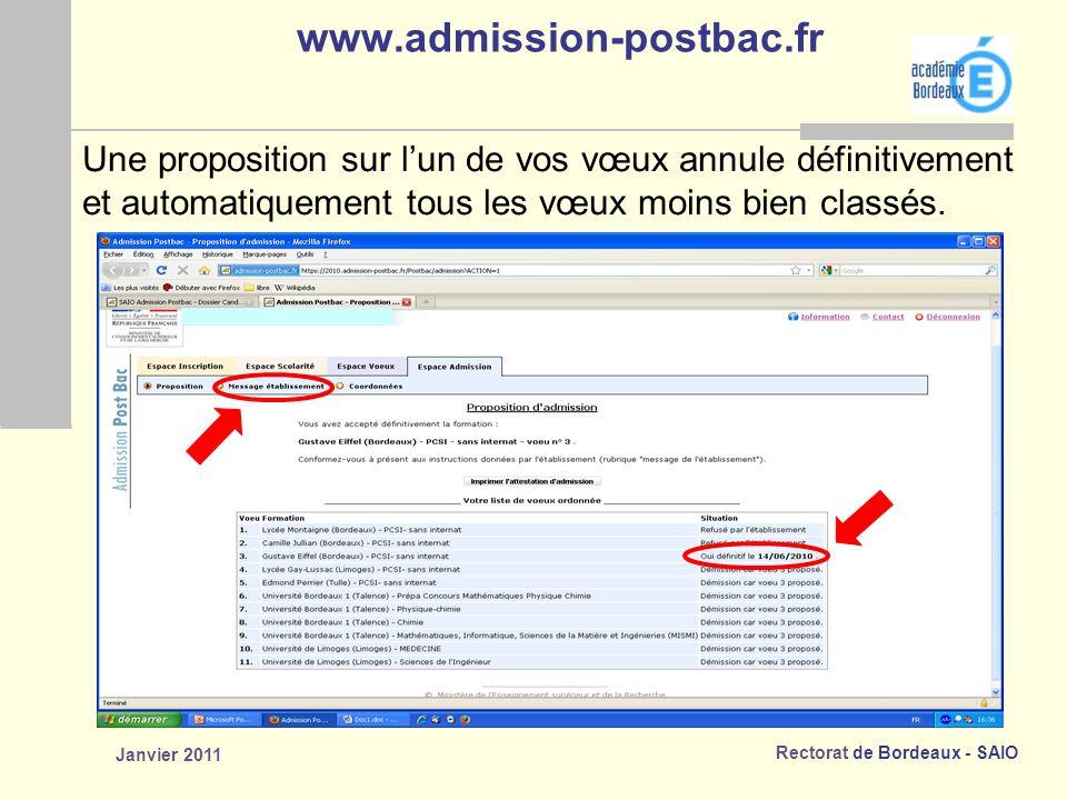 Rectorat de Bordeaux - SAIO Janvier 2011 www.admission-postbac.fr Une proposition sur lun de vos vœux annule définitivement et automatiquement tous les vœux moins bien classés.