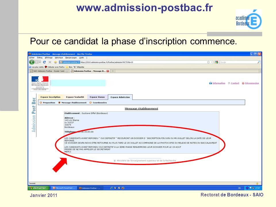 Rectorat de Bordeaux - SAIO Janvier 2011 www.admission-postbac.fr Pour ce candidat la phase dinscription commence.