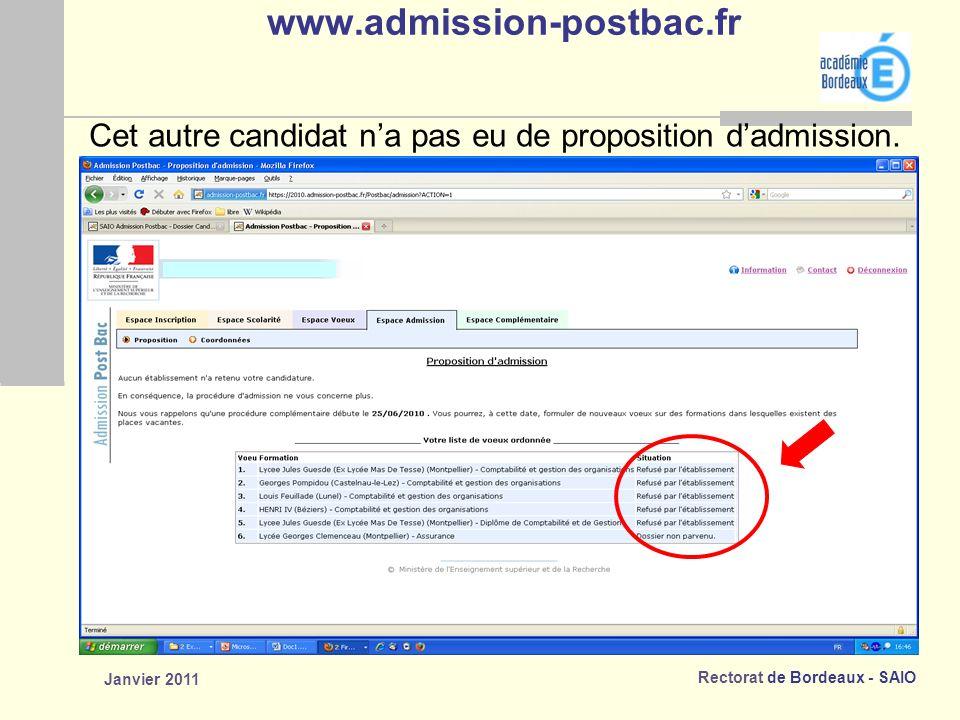 Rectorat de Bordeaux - SAIO Janvier 2011 www.admission-postbac.fr Cet autre candidat na pas eu de proposition dadmission.