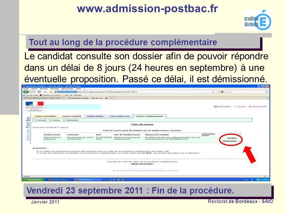 Rectorat de Bordeaux - SAIO Janvier 2011 Le candidat consulte son dossier afin de pouvoir répondre dans un délai de 8 jours (24 heures en septembre) à une éventuelle proposition.