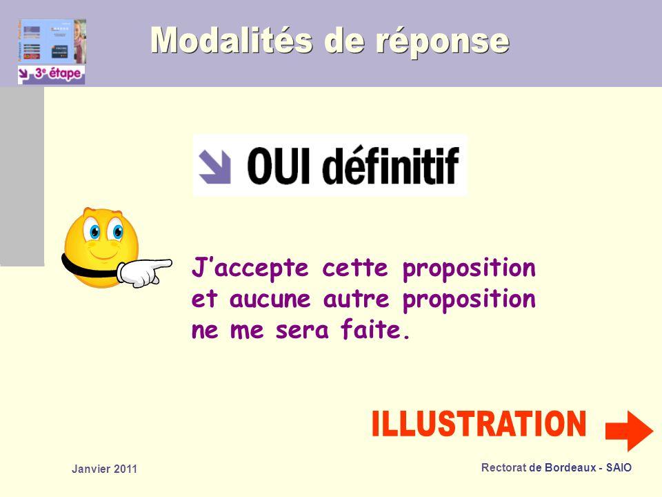 Rectorat de Bordeaux - SAIO Janvier 2011 Jaccepte cette proposition et aucune autre proposition ne me sera faite.