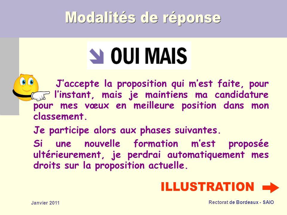 Rectorat de Bordeaux - SAIO Janvier 2011 Jaccepte la proposition qui mest faite, pour linstant, mais je maintiens ma candidature pour mes vœux en meilleure position dans mon classement.