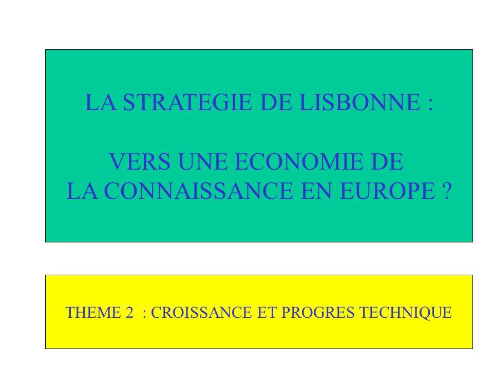THEME 2 : CROISSANCE ET PROGRES TECHNIQUE LA STRATEGIE DE LISBONNE : VERS UNE ECONOMIE DE LA CONNAISSANCE EN EUROPE ?