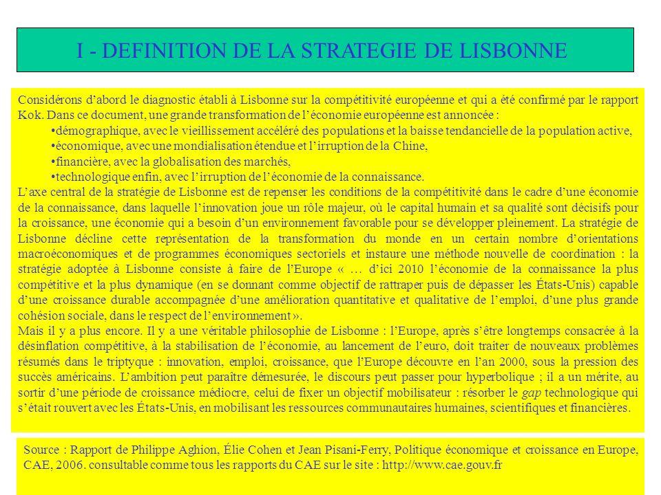 I - DEFINITION DE LA STRATEGIE DE LISBONNE Considérons dabord le diagnostic établi à Lisbonne sur la compétitivité européenne et qui a été confirmé pa