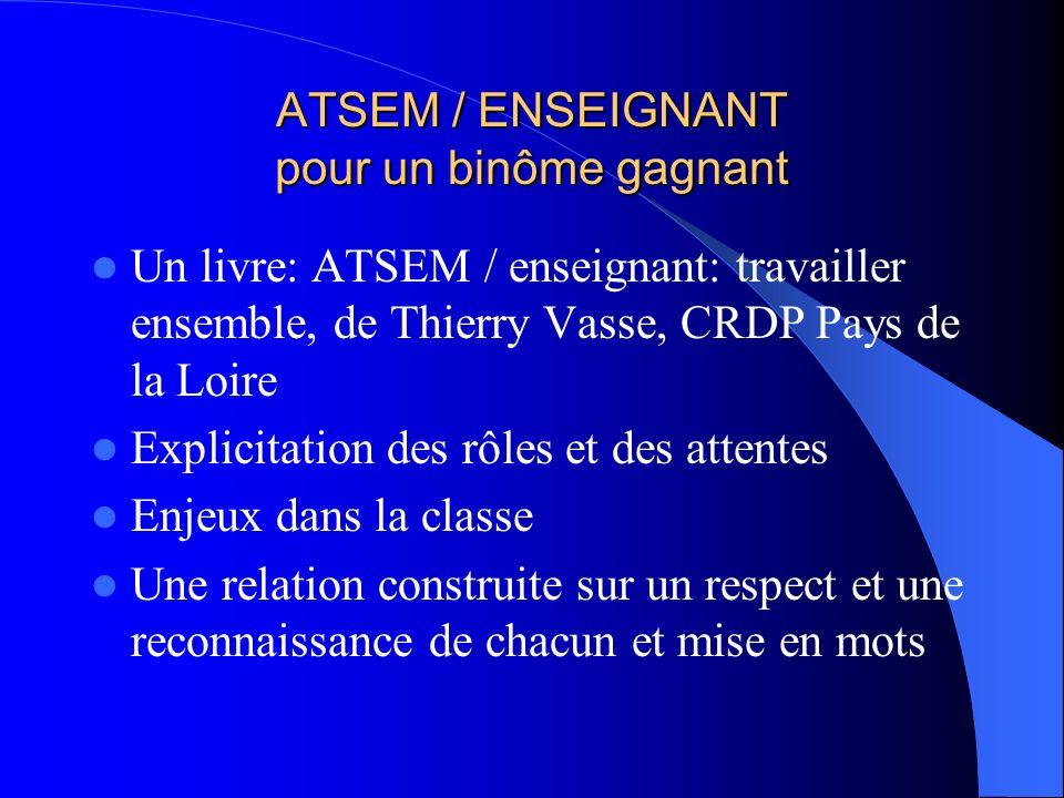 ATSEM / ENSEIGNANT pour un binôme gagnant Un livre: ATSEM / enseignant: travailler ensemble, de Thierry Vasse, CRDP Pays de la Loire Explicitation des
