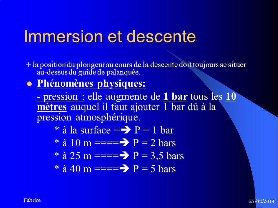 27/02/2014 Fabrice Immersion et descente + la position du plongeur au cours de la descente doit toujours se situer au-dessus du guide de palanquée.