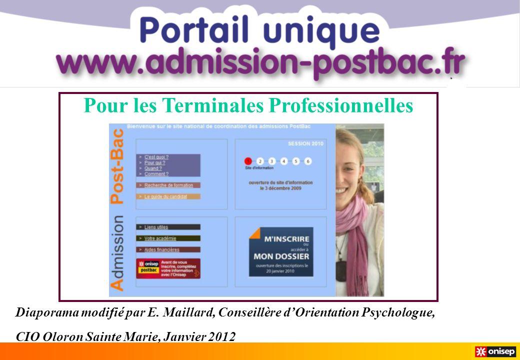 Diaporama modifié par E. Maillard, Conseillère dOrientation Psychologue, CIO Oloron Sainte Marie, Janvier 2012 Pour les Terminales Professionnelles
