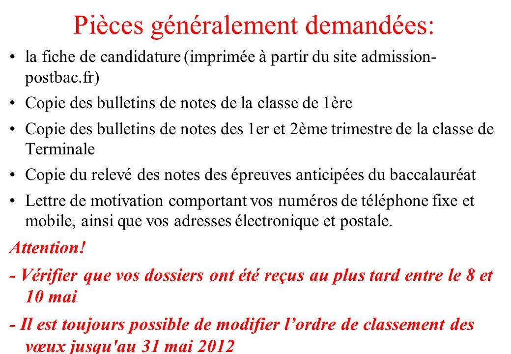 Pièces généralement demandées: la fiche de candidature (imprimée à partir du site admission- postbac.fr) Copie des bulletins de notes de la classe de