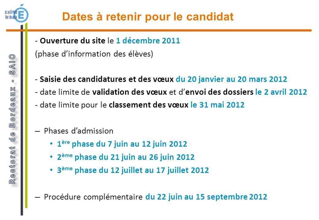 Dates à retenir pour le candidat - Ouverture du site le 1 décembre 2011 (phase dinformation des élèves) - Saisie des candidatures et des vœux du 20 ja