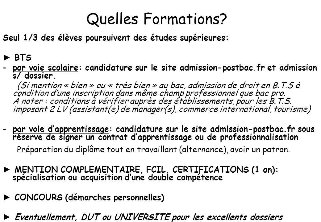 Quelles Formations? Seul 1/3 des élèves poursuivent des études supérieures: BTS -par voie scolaire: candidature sur le site admission-postbac.fr et ad