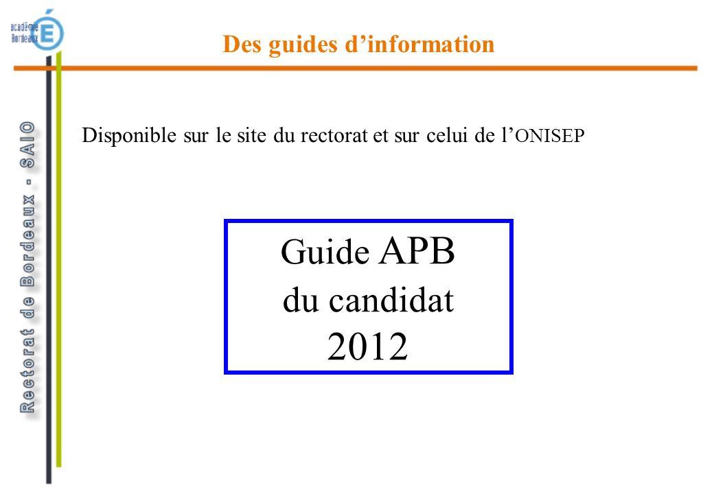 Guide APB du candidat 2012 Des guides dinformation Disponible sur le site du rectorat et sur celui de l ONISEP