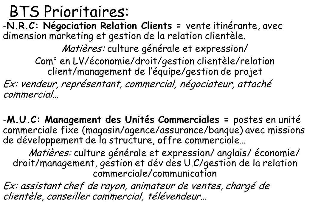 BTS Prioritaires: -N.R.C: Négociation Relation Clients = vente itinérante, avec dimension marketing et gestion de la relation clientèle. Matières: cul