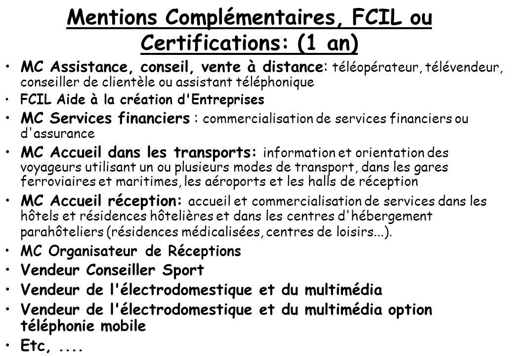 Mentions Complémentaires, FCIL ou Certifications: (1 an) MC Assistance, conseil, vente à distance : téléopérateur, télévendeur, conseiller de clientèl
