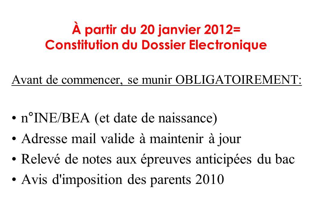 À partir du 20 janvier 2012= Constitution du Dossier Electronique Avant de commencer, se munir OBLIGATOIREMENT: n°INE/BEA (et date de naissance) Adres