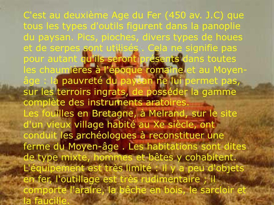 C'est au deuxième Age du Fer (450 av. J.C) que tous les types d'outils figurent dans la panoplie du paysan. Pics, pioches, divers types de houes et de