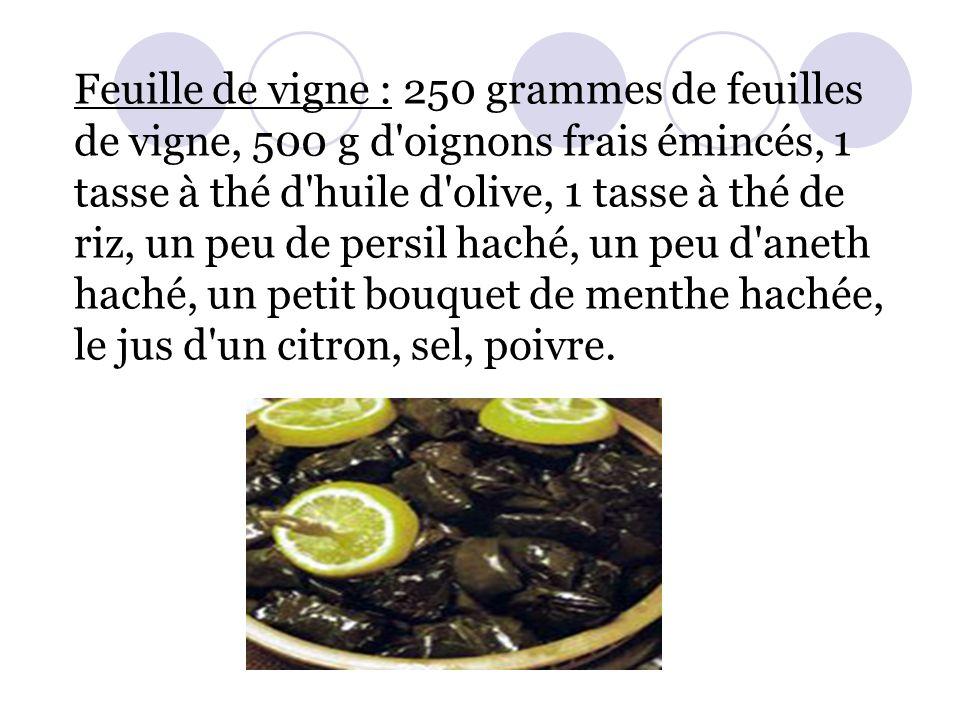 Feuille de vigne : 250 grammes de feuilles de vigne, 500 g d'oignons frais émincés, 1 tasse à thé d'huile d'olive, 1 tasse à thé de riz, un peu de per