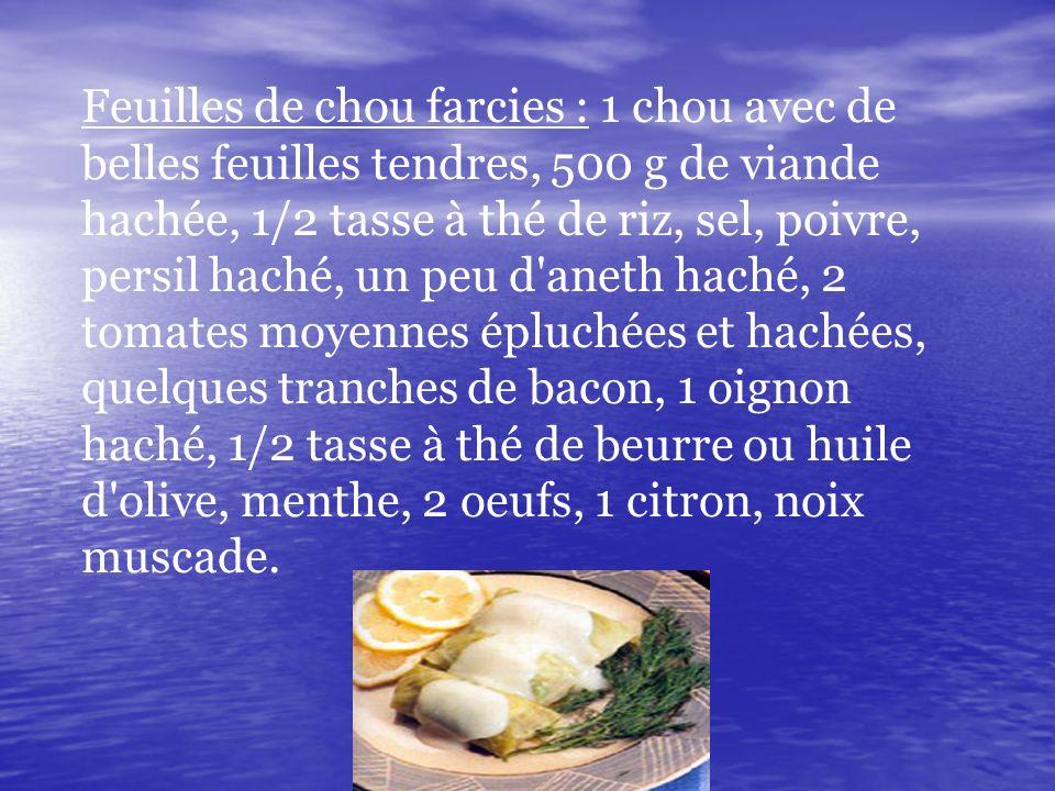 Feuilles de chou farcies : 1 chou avec de belles feuilles tendres, 500 g de viande hachée, 1/2 tasse à thé de riz, sel, poivre, persil haché, un peu d aneth haché, 2 tomates moyennes épluchées et hachées, quelques tranches de bacon, 1 oignon haché, 1/2 tasse à thé de beurre ou huile d olive, menthe, 2 oeufs, 1 citron, noix muscade.