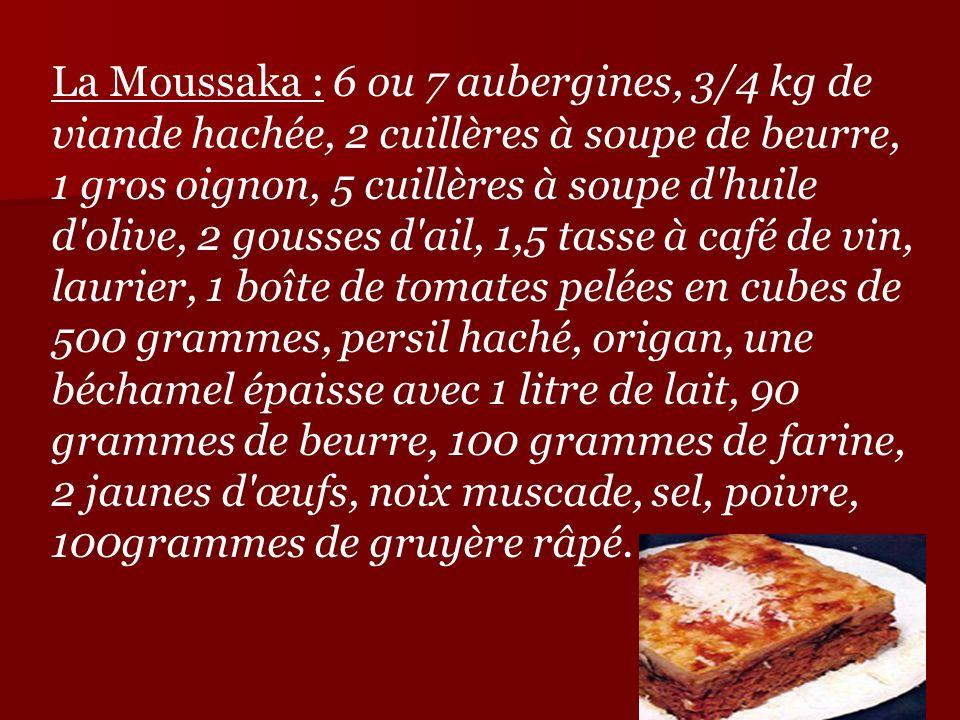 La Moussaka : 6 ou 7 aubergines, 3/4 kg de viande hachée, 2 cuillères à soupe de beurre, 1 gros oignon, 5 cuillères à soupe d huile d olive, 2 gousses d ail, 1,5 tasse à café de vin, laurier, 1 boîte de tomates pelées en cubes de 500 grammes, persil haché, origan, une béchamel épaisse avec 1 litre de lait, 90 grammes de beurre, 100 grammes de farine, 2 jaunes d œufs, noix muscade, sel, poivre, 100grammes de gruyère râpé.