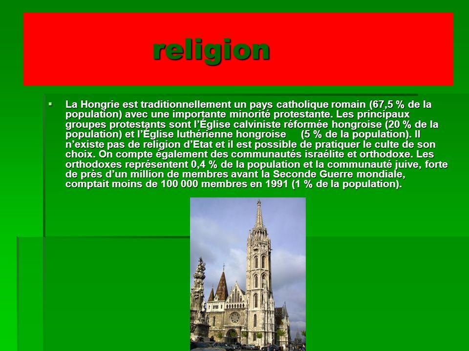 religion religion La Hongrie est traditionnellement un pays catholique romain (67,5 % de la population) avec une importante minorité protestante. Les