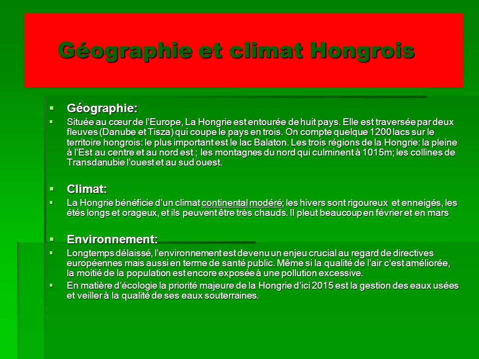 Géographie et climat Hongrois Géographie et climat Hongrois Géographie: Géographie: Située au cœur de lEurope, La Hongrie est entourée de huit pays. E