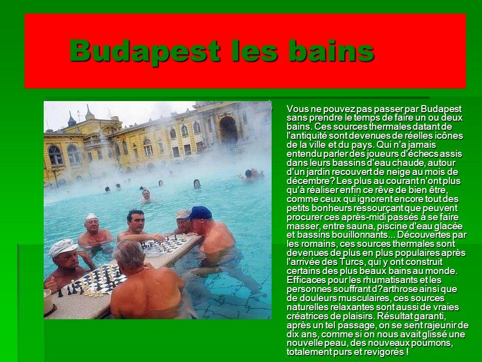 Budapest les bains Budapest les bains Vous ne pouvez pas passer par Budapest sans prendre le temps de faire un ou deux bains. Ces sources thermales da