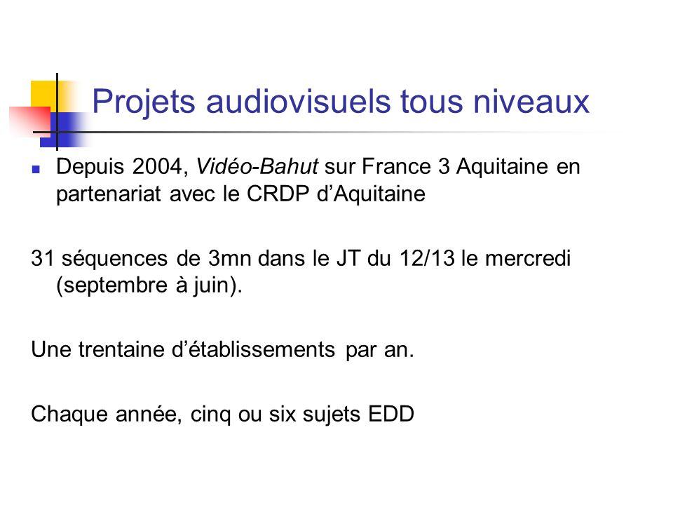 Projets audiovisuels tous niveaux Depuis 2004, Vidéo-Bahut sur France 3 Aquitaine en partenariat avec le CRDP dAquitaine 31 séquences de 3mn dans le J