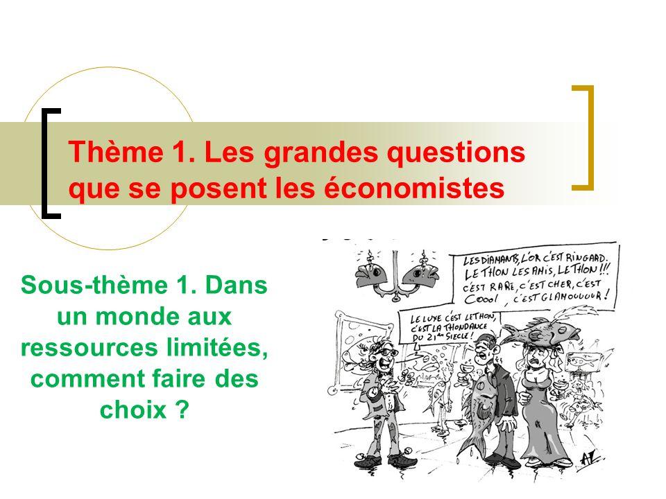 Thème 1. Les grandes questions que se posent les économistes Sous-thème 1. Dans un monde aux ressources limitées, comment faire des choix ?