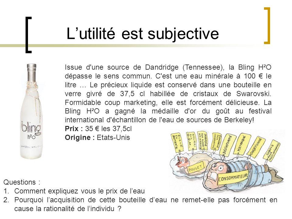 Lutilité est subjective Issue d une source de Dandridge (Tennessee), la Bling H²O dépasse le sens commun.