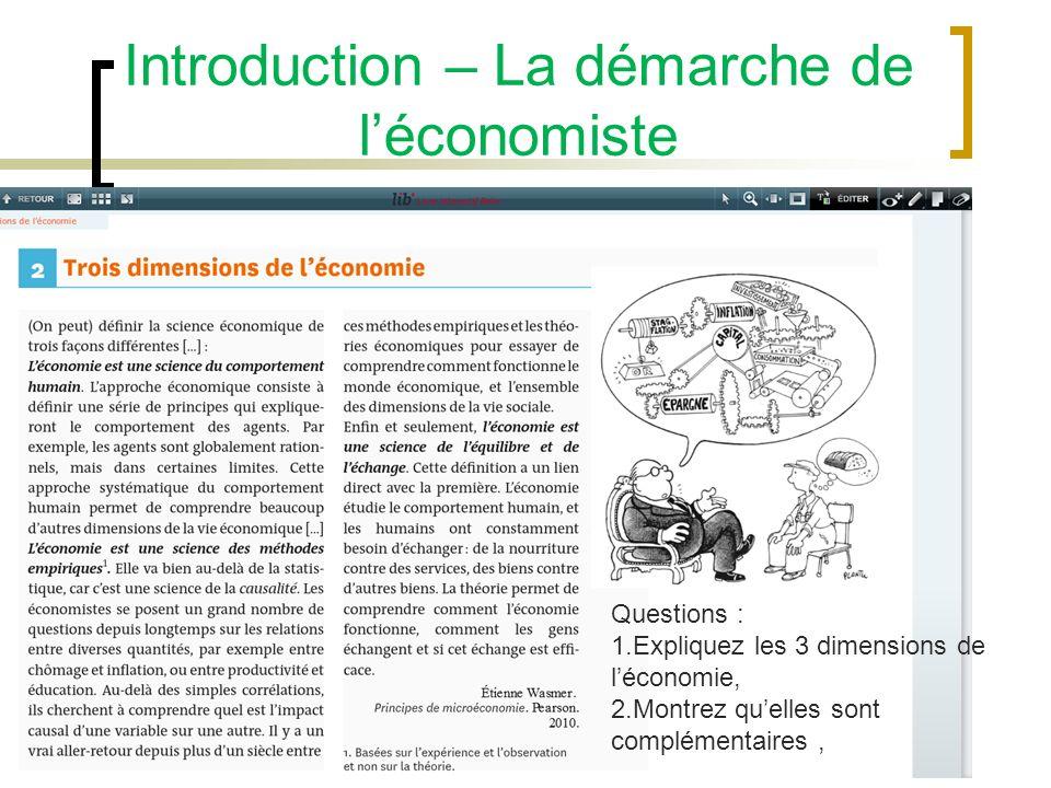 Introduction – La démarche de léconomiste Questions : 1.Quelle est lhypothèse fondamentale sur laquelle repose la démarche de léconomiste ? 2.Comment