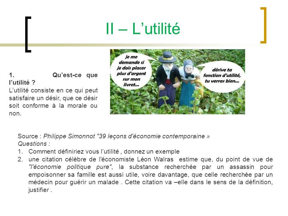II – Lutilité Source : Philippe Simonnot