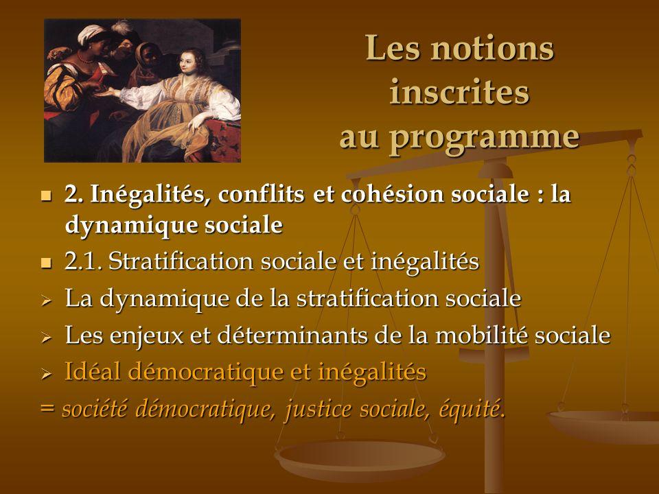 Les notions inscrites au programme 2. Inégalités, conflits et cohésion sociale : la dynamique sociale 2. Inégalités, conflits et cohésion sociale : la