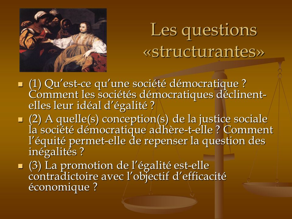 Les questions «structurantes» (1) Quest-ce quune société démocratique ? Comment les sociétés démocratiques déclinent- elles leur idéal dégalité ? (1)
