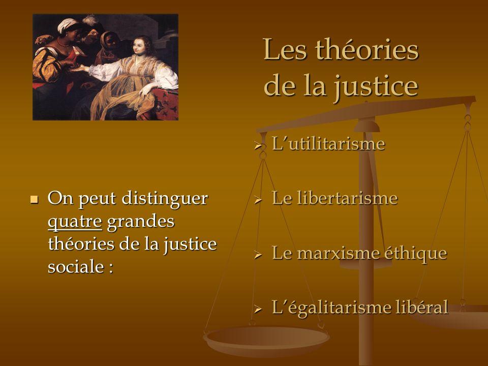 Les théories de la justice On peut distinguer quatre grandes théories de la justice sociale : On peut distinguer quatre grandes théories de la justice